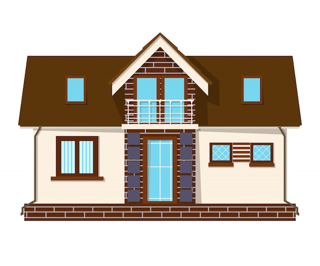 Красивый небольшой дом с мансардой, балконом. здание с мансардой. уютный сельский дом с мезонином.