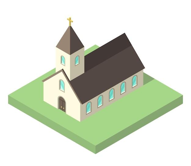 白で隔離された緑の地面に美しい小さなアイソメトリック教会。キリスト教、宗教、信仰の概念。フラットなデザイン。 eps 8ベクトルイラスト、透明度なし