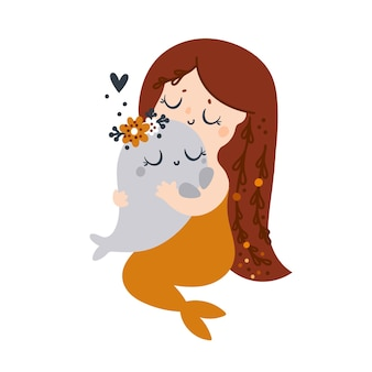 Beautiful small mermaid with long hair and orange fish tail hugs boho baby whale on white background