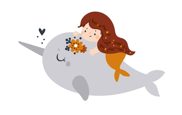 Beautiful small mermaid with long hair and orange fish tail swims with a narwhal on white background