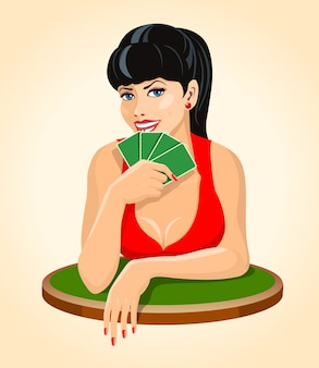Beautiful smiling brunette woman in red dress with a playing cards sitting at the table. poker, bridge icon.