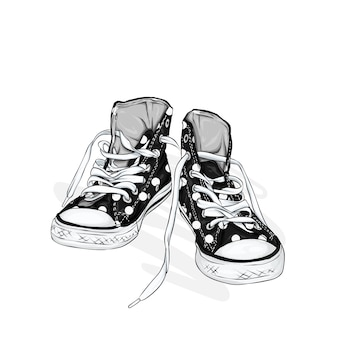 Beautiful sneakers.  illustration for a picture or poster. youth shoes. sports, running and walking.