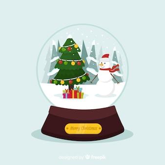 クリスマスデザインの美しい雪球の地球儀