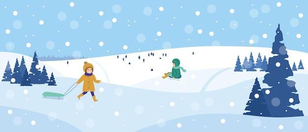 Красивый снежный пейзаж зимняя сцена с играющими детьми зимнее развлечение на санках