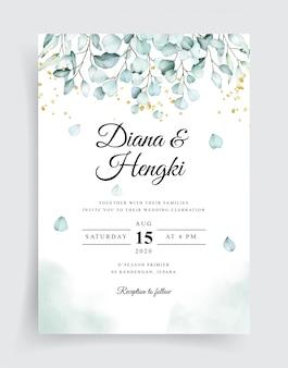 Beautiful soft eucalyptus watercolor wedding card invitation template