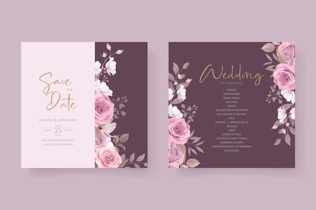 美しい柔らかい花と葉の結婚式の招待カードのデザイン