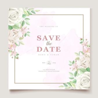 美しい柔らかい花と葉の結婚式の招待カードセット
