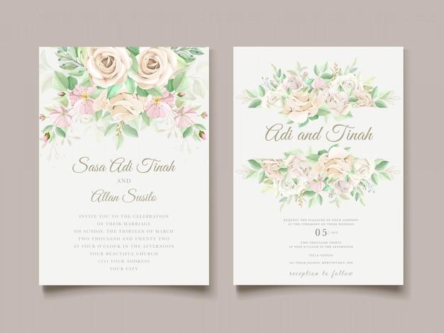Красивые мягкие цветочные и листья свадебные приглашения набор карт