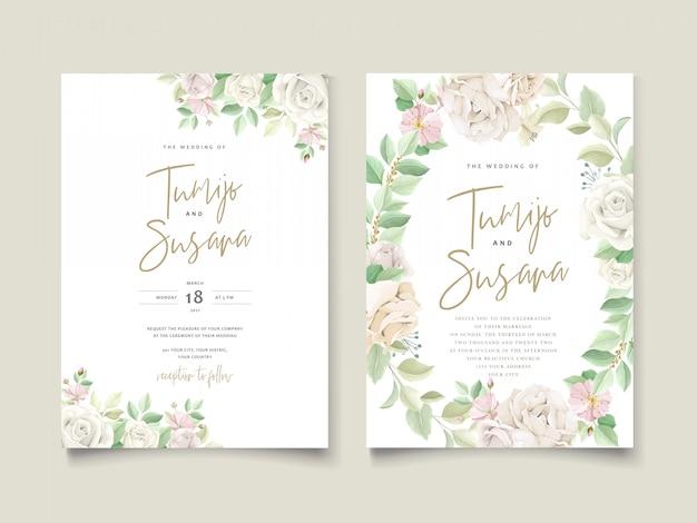 美しい柔らかい花と葉の結婚式の招待カード