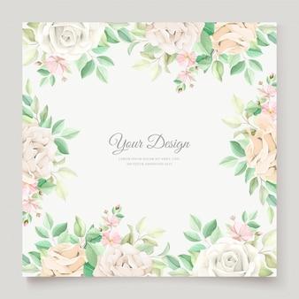 아름 다운 부드러운 꽃과 나뭇잎 결혼식 초대 카드