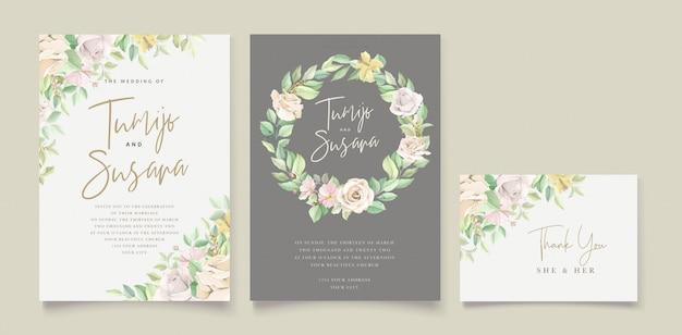 Красивые мягкие цветочные и листья свадебного приглашения