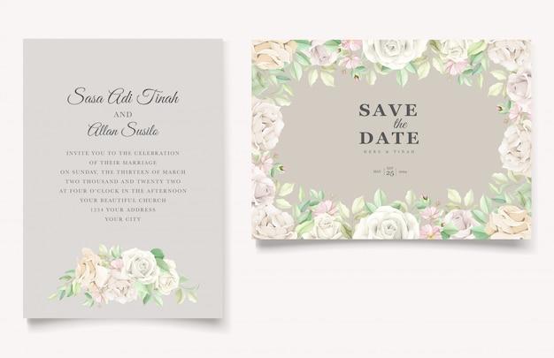 Bellissimo set di carte invito matrimonio floreale morbido e foglie