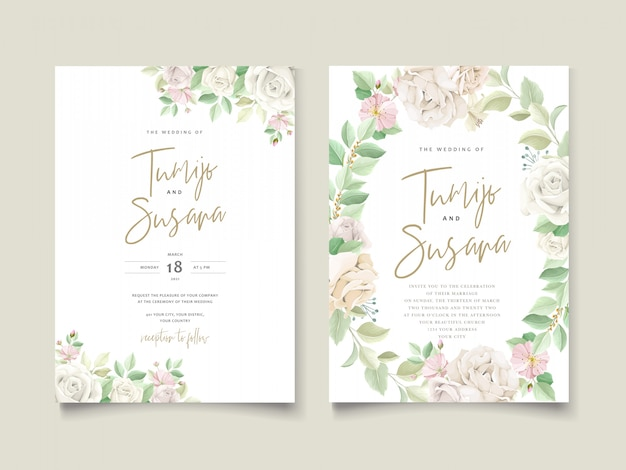 Beautiful soft floral and leaves wedding invitation card