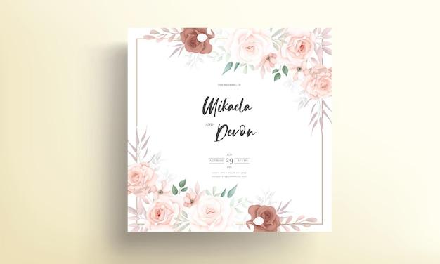 Красивая мягкая цветочная свадебная пригласительная открытка с орнаментом из роз