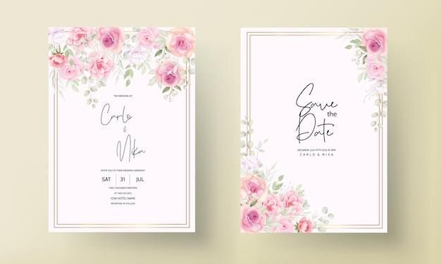 美しい柔らかい花の結婚式の招待カード