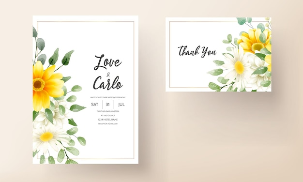 Красивый мягкий цветочный свадебный пригласительный билет