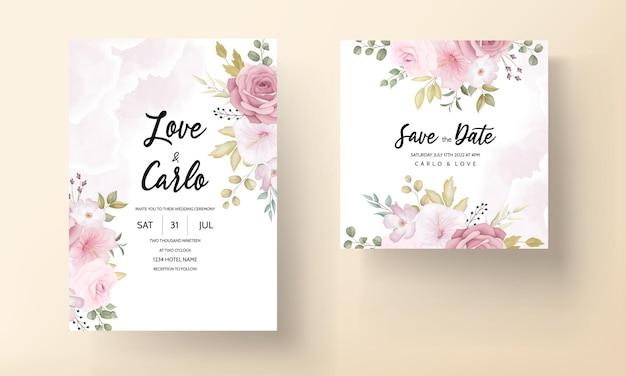 Красивые мягкие рисованной цветочные свадебные приглашения набор