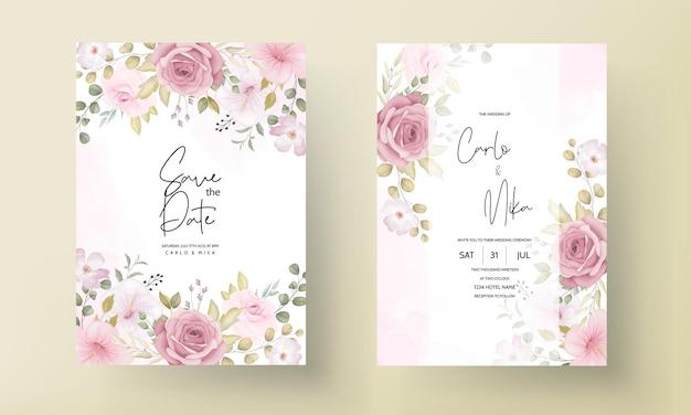 美しい柔らかい手描きの花の結婚式の招待状セット