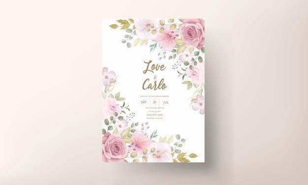 美しい柔らかい手描きの花の結婚式の招待状