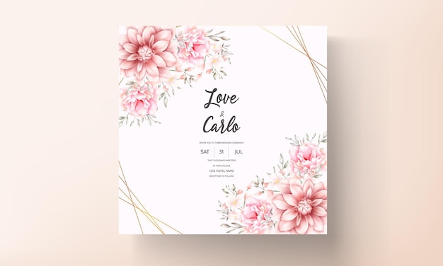 Красивая нежная персиково-коричневая цветочная акварельная свадебная открытка Premium векторы
