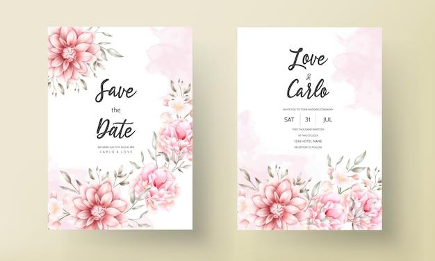 Красивая нежная персиково-коричневая цветочная акварельная свадебная открытка
