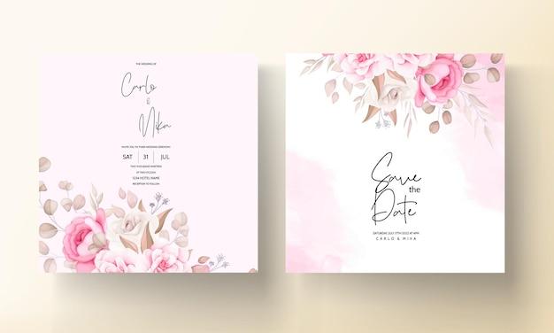 아름 다운 부드러운 복숭아와 갈색 꽃 결혼식 초대장 서식 파일