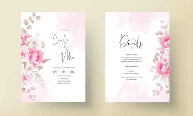 美しい柔らかい桃と茶色の花の結婚式の招待状のテンプレート