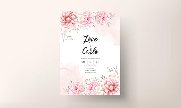 Beautiful soft peach and brown floral watercolor wedding card