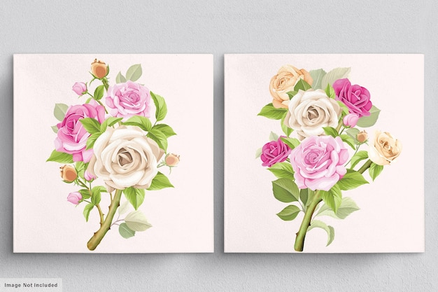Beautiful soft pink bouquet of hand drawn roses illustrations