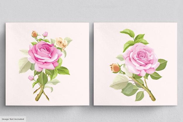 Красивый мягкий розовый букет рисованной иллюстраций роз Premium векторы