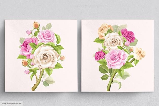 手描きのバラのイラストの美しい柔らかいピンクの花束