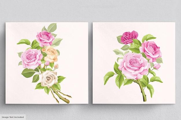 Красивый мягкий розовый букет рисованной иллюстраций роз