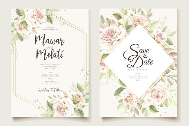 Beautiful soft roses invitation card set