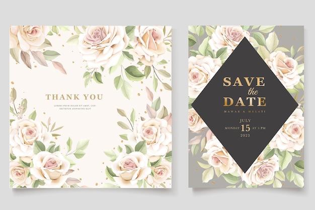 美しい柔らかいバラの招待状セット