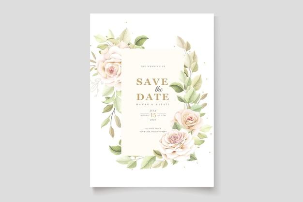 Beautiful soft roses invitation card