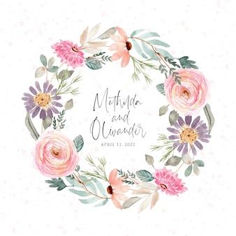 아름다운 연꽃 수채화 화환
