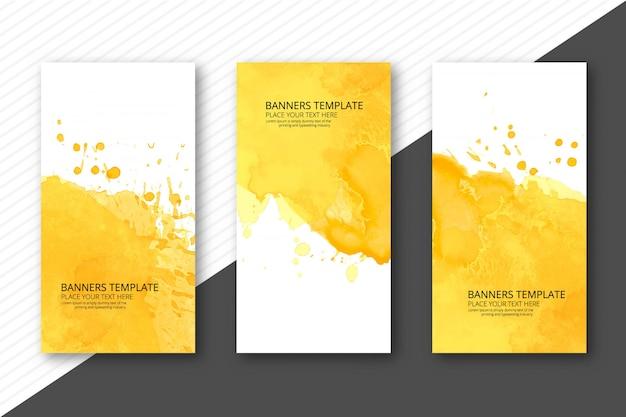 Beautiful soft watercolor headers set template vector