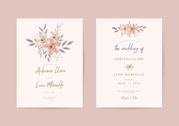 Красивый мягкий шаблон свадебной открытки