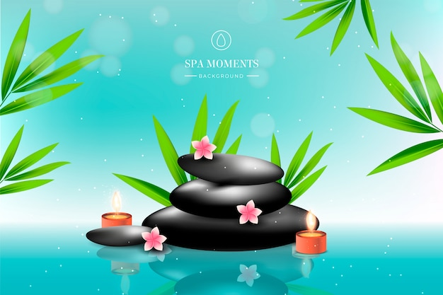Beautiful spa background with stones, flowers and candles