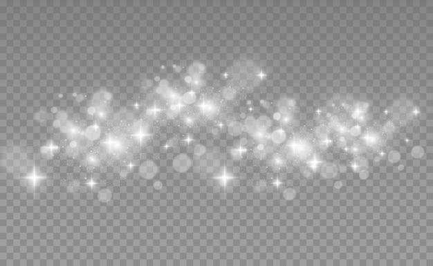 특별한 빛으로 아름다운 불꽃이 빛납니다. 투명 배경에 반짝임. 요약 . 엽서의 아름다운 그림입니다. 이미지의 배경입니다.