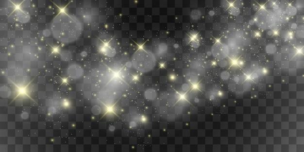 美しい火花が特別な光で輝きます。透明な背景の上で輝きます。クリスマスの抽象的なパターン。ポストカードの美しいイラスト。画像の背景。著名人。
