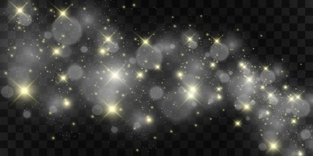 Особенным светом сияют красивые искры. блестит на прозрачном фоне. рождественский абстрактный узор. прекрасная иллюстрация к открытке. фон для изображения. светила.
