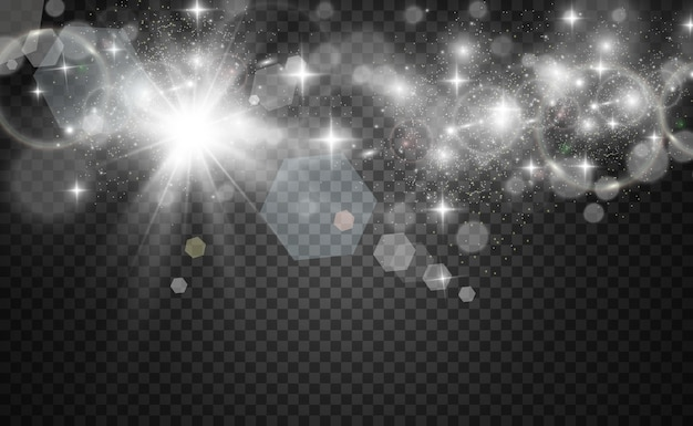 美しい火花が透明な背景に特別な光の輝きで輝きますクリスマスの抽象的なパターン