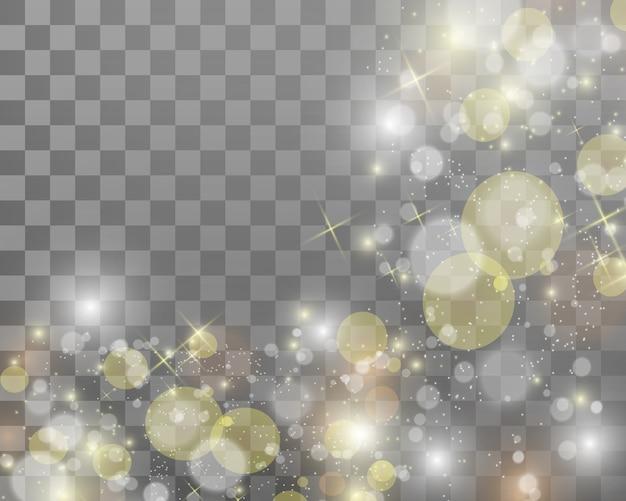 Красивые искры сияют особым светом. сверкает на прозрачном фоне.