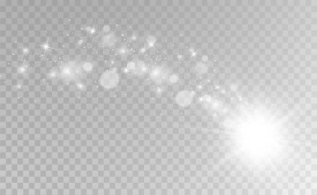 Особенным светом сияют красивые искры. блестит на прозрачном фоне.