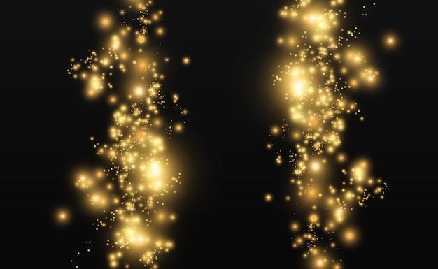 美しい火花が特別な光で輝きます。ベクトルは透明な背景の上で輝きます。クリスマスの抽象的なパターン。はがきの美しいイラスト。画像の背景。ルミナリー。