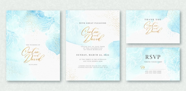 웨딩 카드 템플릿에 아름다운 스플래시와 꽃 예술 수채화