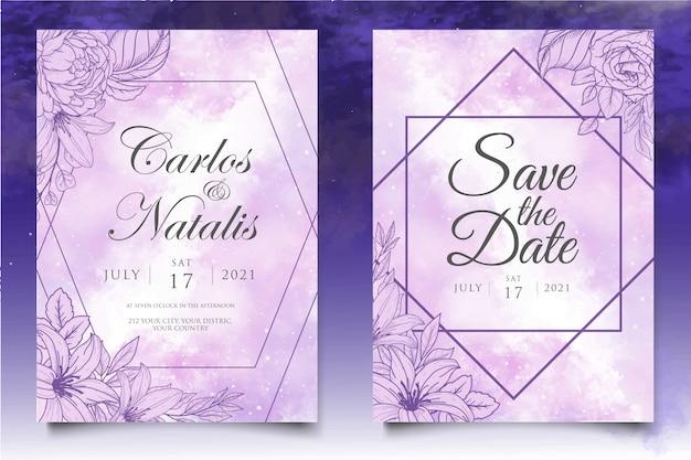 美しいスプラッシュと花のラインアートのウェディングカードテンプレート