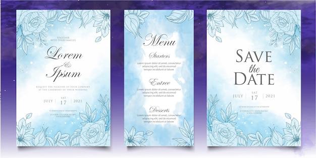 Шаблон свадебной открытки с красивым всплеском и цветочным рисунком