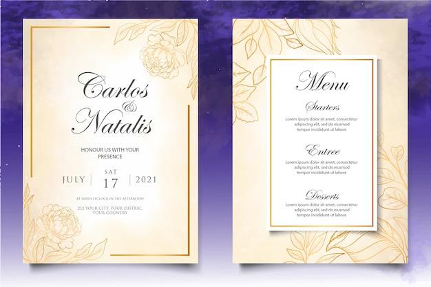 아름 다운 스플래시와 꽃 선화 웨딩 카드 서식 파일
